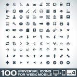 100 iconos universales para el web y el volumen móvil 4 Fotografía de archivo libre de regalías