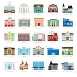 Iconos urbanos coloreados del edificio del gobierno ilustración del vector