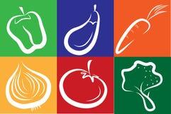 Iconos vegetales blancos en fondo colorido Fotos de archivo