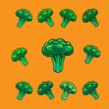Iconos vegetales del bróculi, historieta Fotos de archivo