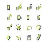 iconos Verde-grises del teléfono móvil stock de ilustración
