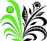 Iconos verde-negros de la planta de la flor Logotipo orgánico del vector Imagen de archivo libre de regalías