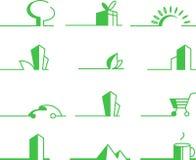 Iconos verdes Foto de archivo libre de regalías