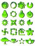 Iconos verdes Imágenes de archivo libres de regalías