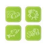 Iconos verdes con el alimento Imagen de archivo libre de regalías