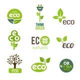 Iconos verdes de Eco Fotos de archivo