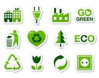 Iconos verdes de Eco fijados Imagen de archivo