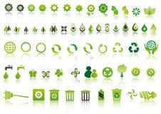 Iconos verdes de la ecología Foto de archivo libre de regalías