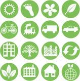 Iconos verdes de la ecología Fotos de archivo libres de regalías