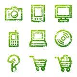 Iconos verdes de la electrónica del grunge Foto de archivo libre de regalías