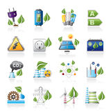 Iconos verdes de la energía y del ambiente stock de ilustración
