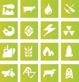 Iconos verdes de la industria Imagen de archivo libre de regalías