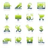 Iconos verdes de las finanzas Fotografía de archivo libre de regalías