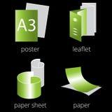 Iconos verdes de los servicios de la imprenta fijados Parte 1 Fotografía de archivo
