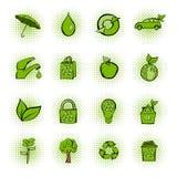 Iconos verdes de los tebeos de Eco fijados Imagen de archivo