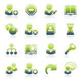 Iconos verdes de los usuarios Foto de archivo libre de regalías