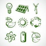 Iconos verdes del bosquejo de la energía Foto de archivo libre de regalías