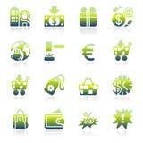 Iconos verdes del comercio Imágenes de archivo libres de regalías