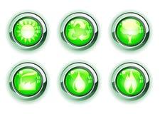 Iconos verdes del ecologe Imagen de archivo