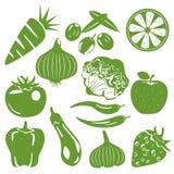 Iconos verdes del producto alimenticio fijados Fotos de archivo