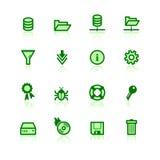 Iconos verdes del servidor de archivos Stock de ilustración