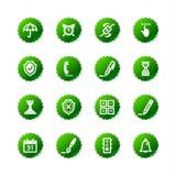 Iconos verdes del software de la etiqueta engomada Fotos de archivo