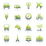Iconos verdes del viaje Imagen de archivo libre de regalías