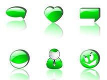 Iconos verdes del Web   Fotos de archivo