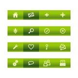 Iconos verdes del Web de la barra