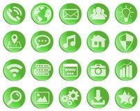 Iconos verdes del web fijados Foto de archivo libre de regalías