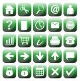 25 iconos verdes del web fijados Foto de archivo libre de regalías