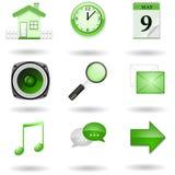 Iconos verdes del Web site y del Internet del vector Imagen de archivo libre de regalías