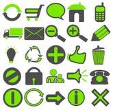 Iconos verdes grises del Web Imagenes de archivo