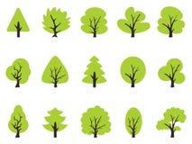 Iconos verdes simples del árbol fijados Imagen de archivo libre de regalías