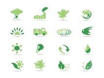 Iconos verdes simples del eco Ilustración del Vector
