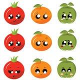 Iconos/verduras y frutas de las etiquetas engomadas con emociones Imágenes de archivo libres de regalías