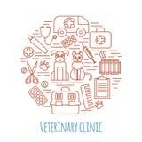 Iconos veterinarios de la medicina animal de la atención sanitaria del animal doméstico fijados Imagenes de archivo
