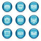 Iconos video audios del Web, serie brillante azul de la esfera Fotografía de archivo libre de regalías