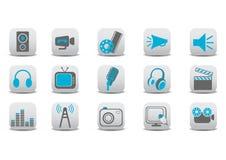 Iconos video y audios Imágenes de archivo libres de regalías