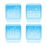 Iconos vidriosos de los ajustes del sistema Fotografía de archivo libre de regalías