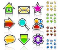 Iconos vidriosos del Web. Fotos de archivo