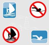 Iconos Wind-surfing y que nadan. Imagen de archivo libre de regalías