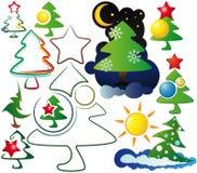 Iconos, y árboles de navidad de las insignias Fotografía de archivo libre de regalías