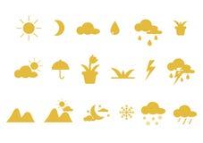 Iconos y accesorios de la naturaleza ilustración del vector
