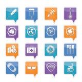 Iconos y alerta-muestras temáticos médicos simples Imágenes de archivo libres de regalías