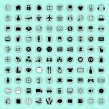 Iconos y botón del ordenador Fotografía de archivo libre de regalías