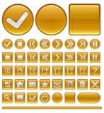 Iconos y botones - amarillo del Web Foto de archivo libre de regalías