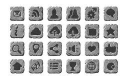 Iconos y botones de piedra realistas Foto de archivo