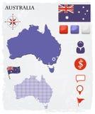 Iconos y botones del mapa de Australia fijados Imágenes de archivo libres de regalías