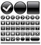 Iconos y botones - negro del Web Fotos de archivo